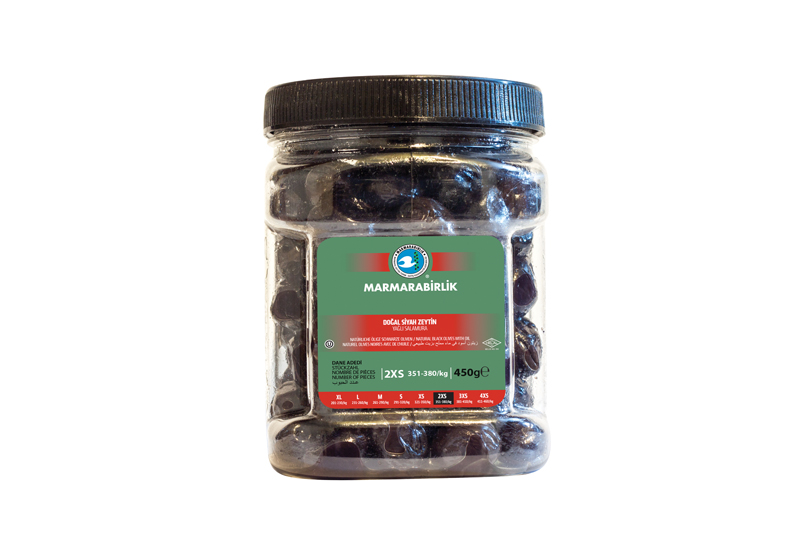 Natürliche Schwarze Oliven in Öl - 450g - 2XS